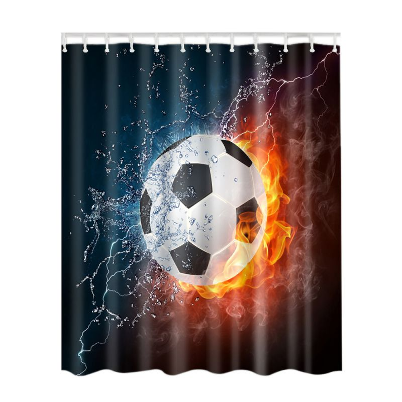 Shower Curtain Bathroom Decor Home Decorations Tattoo / Basketball/Skeleton Flower / Soc ...