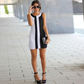 Fashion Women Dress 2017 New fashion Sleeveless Vest dress Black And White Splice sexy top Dress Vintage Office Bodycon Dress