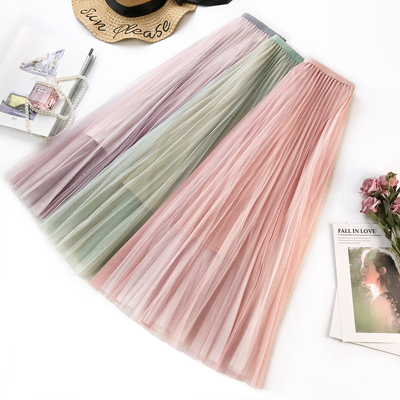 Wasteheart Spring Pink Purple Green Women Skirt High Waist Mid-Calf Long Clothing Mesh A-Line Sexy Skirts Plus Size