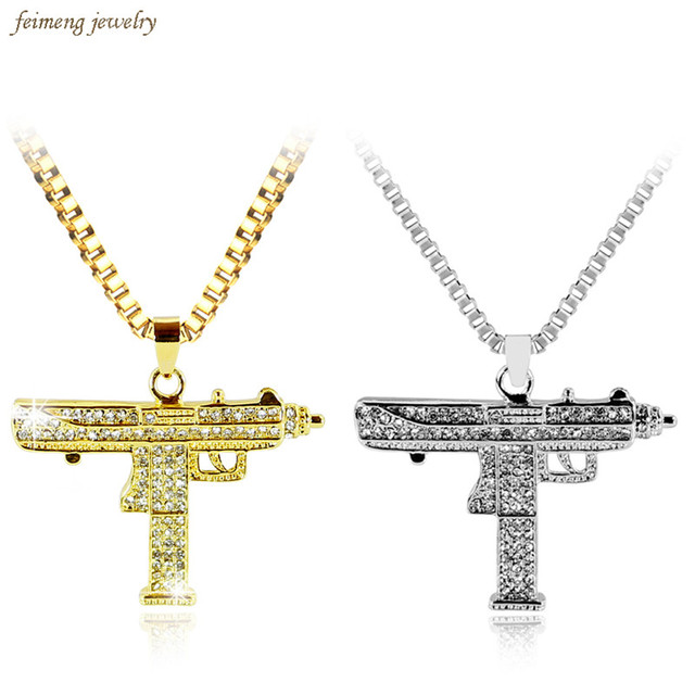 2017 Gold & Silver Chain Pistol Pendant Unisex Submachine Uzi Gun Pendant Chain Maxi Necklace Men/Women Hip Hop Jewelry Gifts