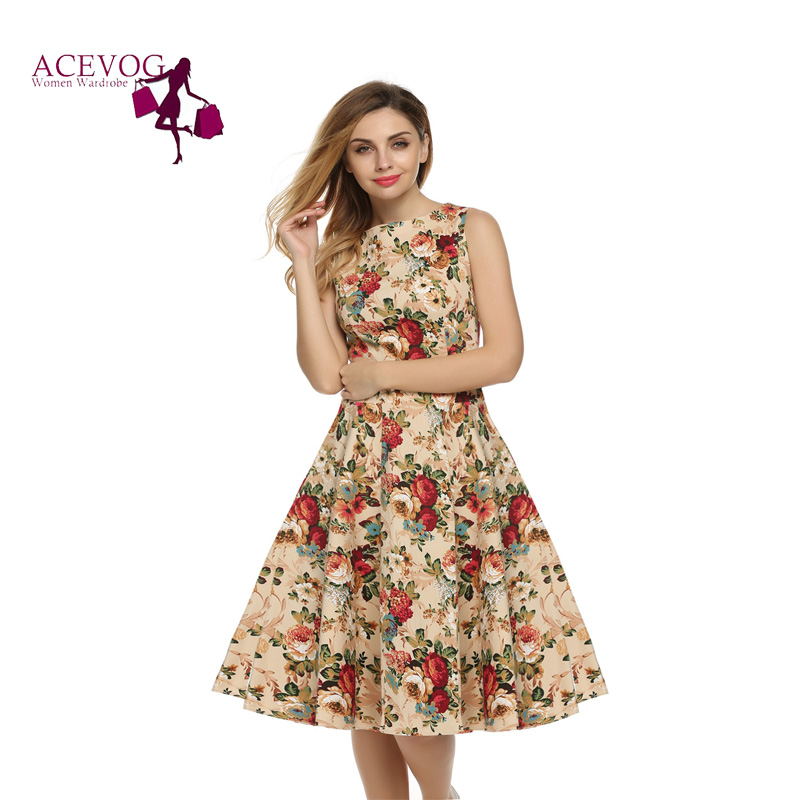6037974e6c3 ACEVOG Women Dress Retro Vintage 1950s 60s Rockabilly Floral Swing Summer  Dresses Elegant Bow-knot Tunic Vestidos Robe Oversize