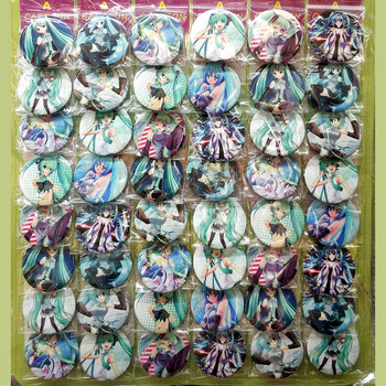 Love Thank You Hatsune Miku #B 45MM 16/24/32/40/48 pcs lot PIN BACK BADGE BUTTON BROOCH for BAG GIFT TOY CLOTH Anime PARTY XMAS