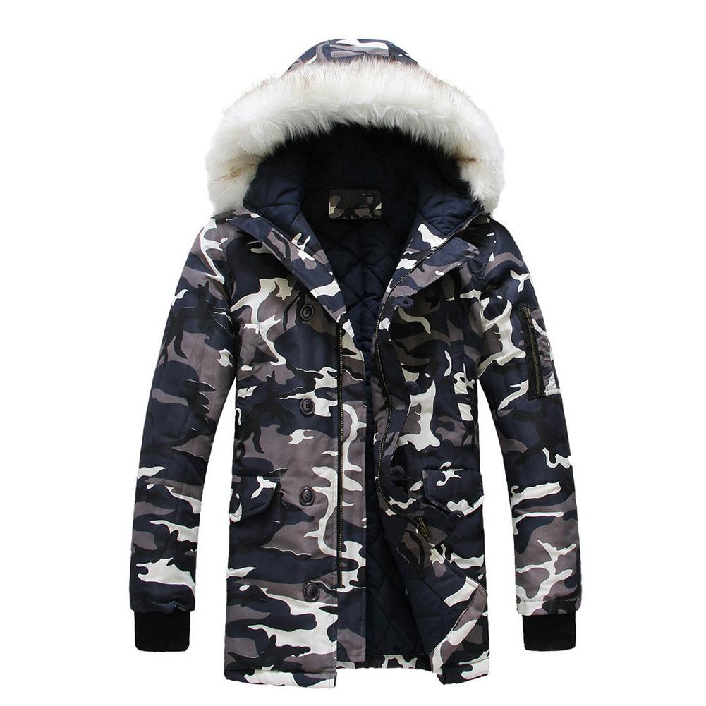 Winter Men Military Camouflage Print Faux Fur Collar Hooded Coat   Parka   Jacket Free Shipping