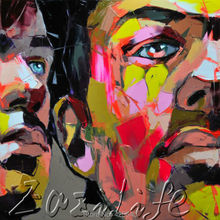 Palette knife painting portrait Palette knife Face Oil painting Impasto figure on canvas Hand painted Francoise Nielly 04