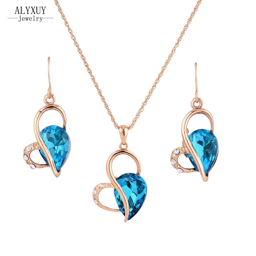 New fashion wedding jewelry set heart crystal stone ...