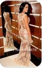 Heißer Verkauf Vestidos Formales Sexy Nude Sheer Spitze Nixe-langes Formales Abend-kleid 2016 Schnelle Lieferung Prom Celebrity Dress F & M910