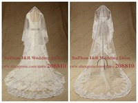 Free Shipping High Quality Shinning Sequined Cording Lace One Layer 3 Meter Long Cathedral Bridal Veil Wedding Accessories
