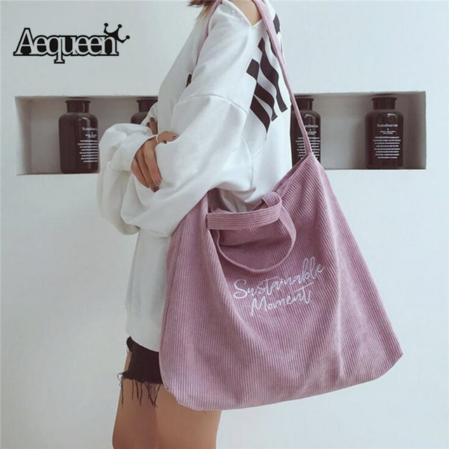 a47d4bfa7 2018 Women Corduroy Canvas Tote Ladies Casual Shoulder Bag Foldable  Reusable Shopping Bags Beach Bag Female
