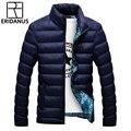 2016 Homens Casacos de Inverno dos homens do Outono de Algodão-Acolchoado Sólidos Grossos Parkas Outwear Casual Plus Size M-5XL Simples Selvagem roupas M409