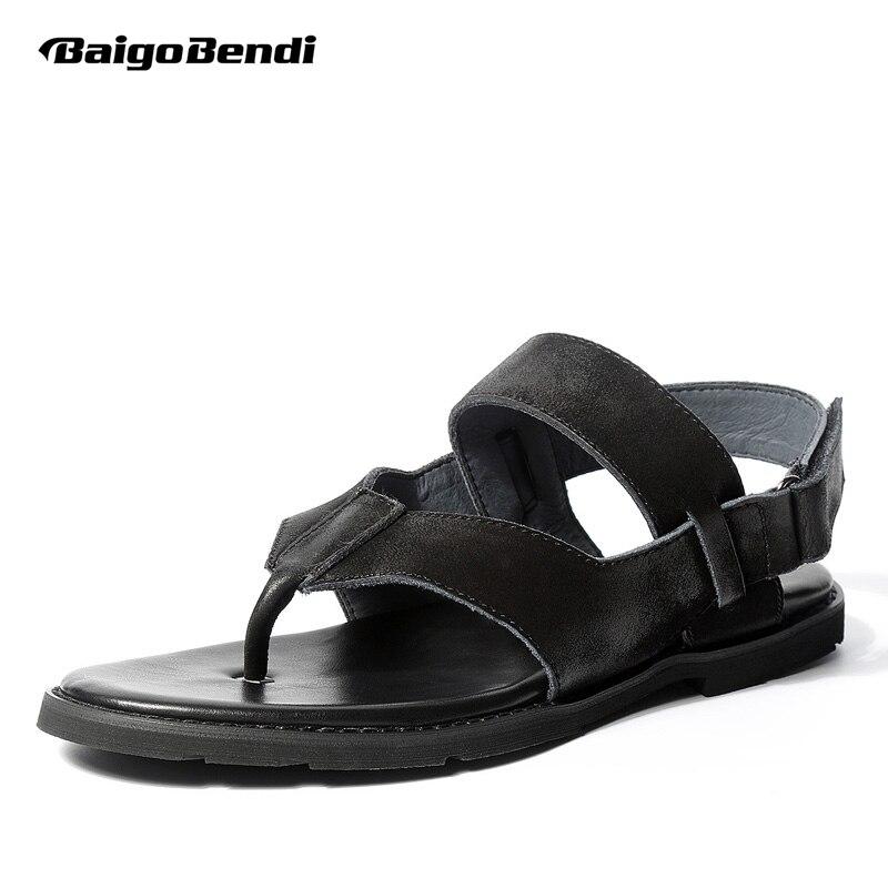 2018 Summer Trendy Men's Genuine Leather Rome Style T-strap Flip Flop Sandals Man Summer Hook Loop Gladiator Sandals walkmaxx man flip flop