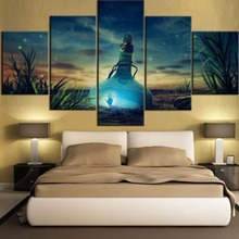 Top-Rated HD Printing Painting 5 Pieces Beautiful Starry Sky And Drift Bottle Type Poster Home Decoative Living Room Framework