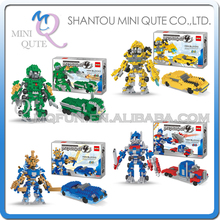 4pcs/lot Mini Qute DR.STAR 4 styles 2 in 1 change robot super hero car truck block plastic building blocks educational toy(China)
