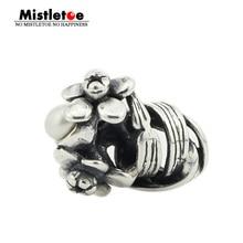 Омела изделия из натуральной стерлингового серебра 925 пробы Нарцисс марта с белым жемчугом шарик шарма Подходит Европейский Troll 3.0 мм браслет