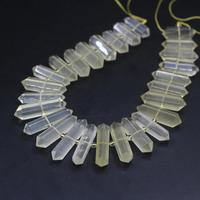 15.5strand Natural Lemon Quartz Faceted Slice Double Point Loose Beads,Citrines Crystal Hexagon Nugget Pendants Jewelry Making