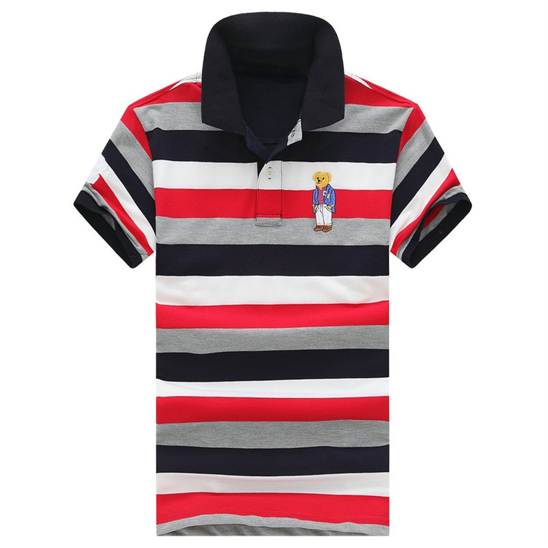 Hot golf Polo striped embroidery bear cartoon mens slim fit shirt for male casual breathable Camisas Masculinas social shirts