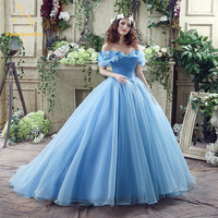 2017 Newest Sky Blue Cinderella Quinceanera Dresses Ball Gowns Sequined Sweet 16 Dress For 15 years Vestidos De 15 Anos QA586
