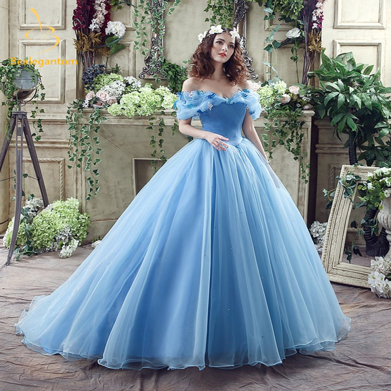 2018 Newest Sky Blue Cinderella Quinceanera Dresses Ball Gowns Sequined Sweet 16 Dress For 15 years Vestidos De 15 Anos QA586