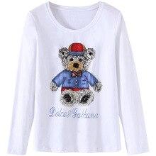 KENVY брендовая модная Женская Роскошная весенне-осенняя элегантная тонкая хлопковая футболка с длинными рукавами и бисером