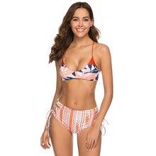цена на High Cut Leg Bandeau Female Swimsuit High Waist Bikini 2019 Women Swimwear Two-pieces Bikini set Bather Bathing Suit Swim