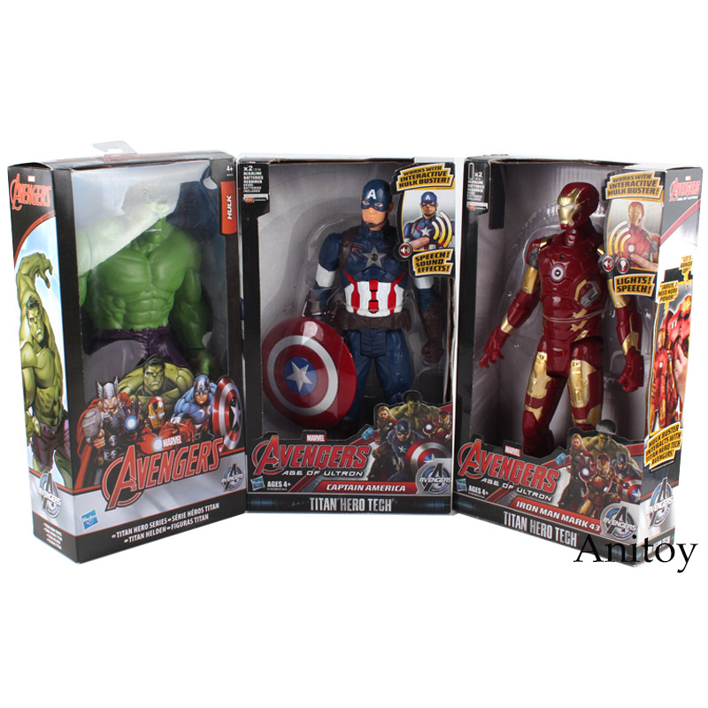 Marvel Avengers Figure Titan Hero Series Captain America Iron Man Hulk PVC Action Figure Speech & Lights Model Toy 28-29cm dc marvel comics pencil wallets avengers hero captain america spider man iron man rectangle long pencil bag zipper pouch purse