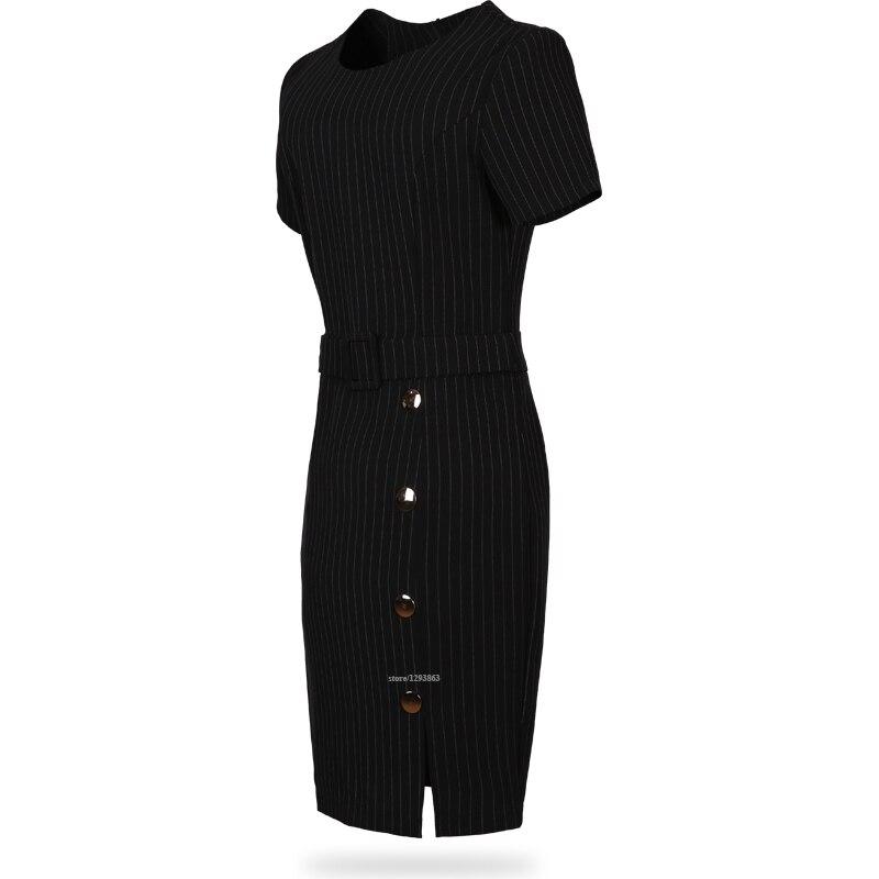 Asimétrico rayada dress ladies work style nueva moda de manga corta negro y blan