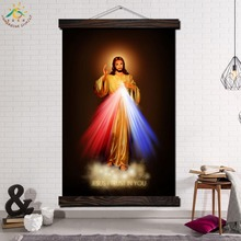 Jesus with Hope Single Vintage Posters and Prints Scroll Painting Canvas Wall Art Pictures Framed for Home Decoration