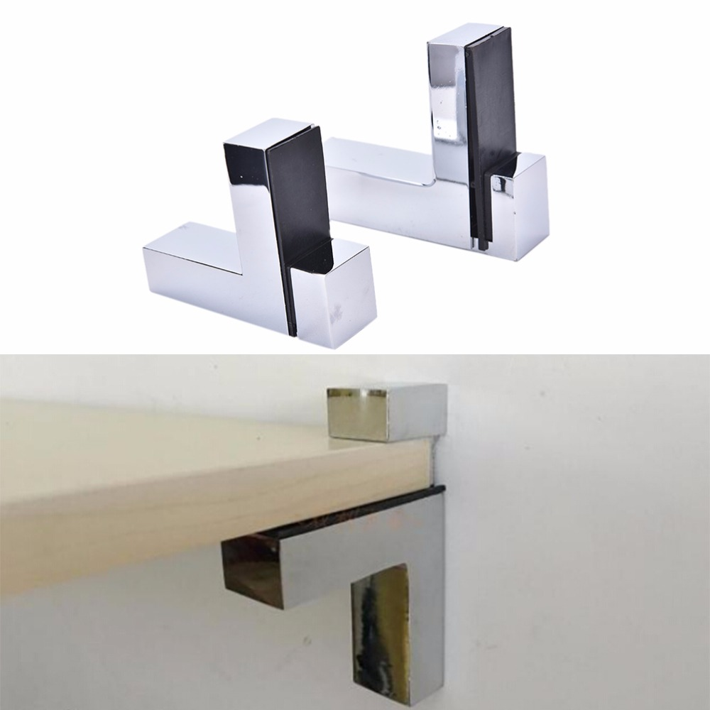 JETTING 1PCS Adjustable Shelf Holder Bracket Glass Wood Shelves Rectangle Glass Clamp High Quality 1pcs adjustable brush finish metal shelf holder support clamp for bathroom wall glass shelves panel