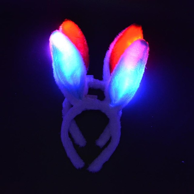 2018  Woman Girl Light Up Bunny LED Headband Flashing  Ears   Easter  Pink White Glow Rave Party     Wedding Decoration