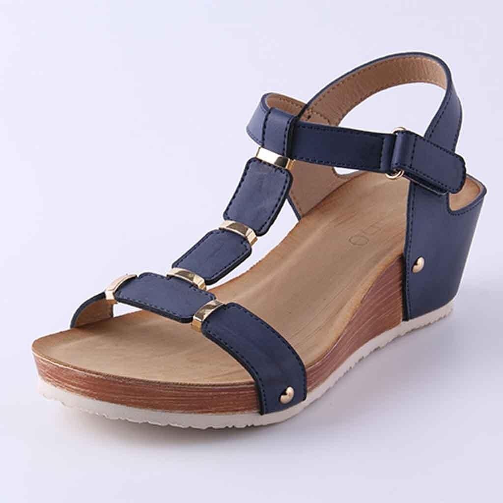 a681a405 Moda El Zapatos Azul Verano Grueso Peep Caliente Toe 2019 Casuales Mujer Y  Sandalias Cuña Plataforma Tacón ...