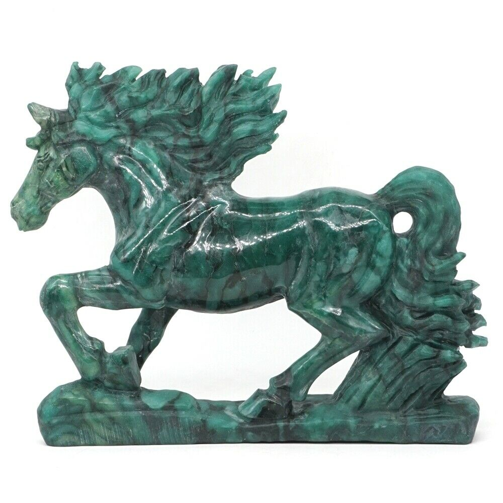 "7.7"" Horse Natural Stone African Green Jade Crystal Carved Animal Figurine Craft Home Decor"