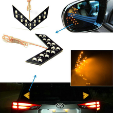 1X Free shipping Car styling 14 SMD LED Arrow Panel For Car Rear View Mirror Indicator Turn Signal Light Car led Parking