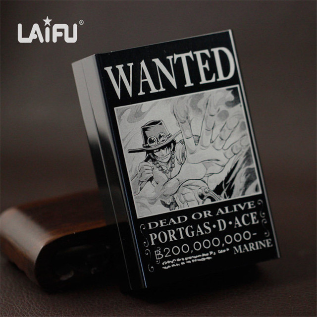 Laifu One Piece Wanted Luffy Ace Zoro Aluminium Alloy E Cigarette Case Ultra Thin Male Cigarette Smoke Box for 20 Cigarettes
