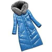 Lady Genuine Sheepskin Leather Suede Coat Jacket Real Fox Fur Hoody Autumn Winter Women Outerwear Overcoats LF4254