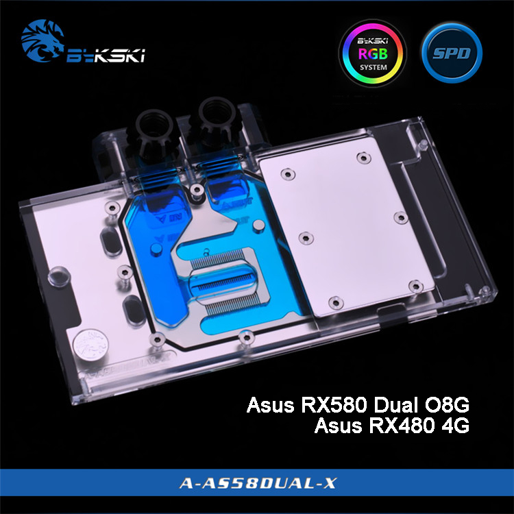 Bykski A-AS58DUAL-X, Bloco De Resfriamento De Água Cobertura Completa da Placa Gráfica para Asus RX580 Dual O8G/RX480 4G