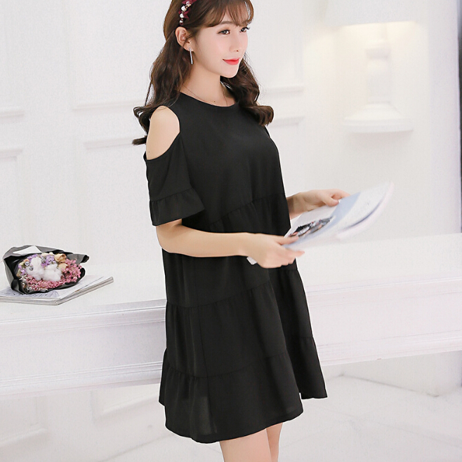a952676ad1cdb Summer dress women clothing cute Dew shoulder short sleeve bodycon dress  Korean patchwork show thin high waist dress Vestidos -in Dresses from  Women's ...
