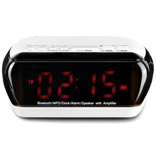HFES New Portable Multifunctional DOUBLE ALARM Clock Bluetooth/Wirelss Speaker FM Radio Time Display TF Card Slot