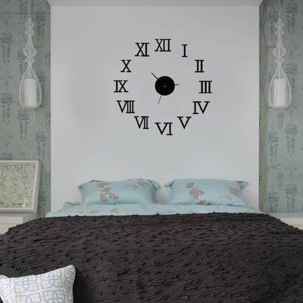 3d acrylic mirror wall clocks home decor modern diy self-adhesive roman numerals wall art clock home wall watch MZB-006