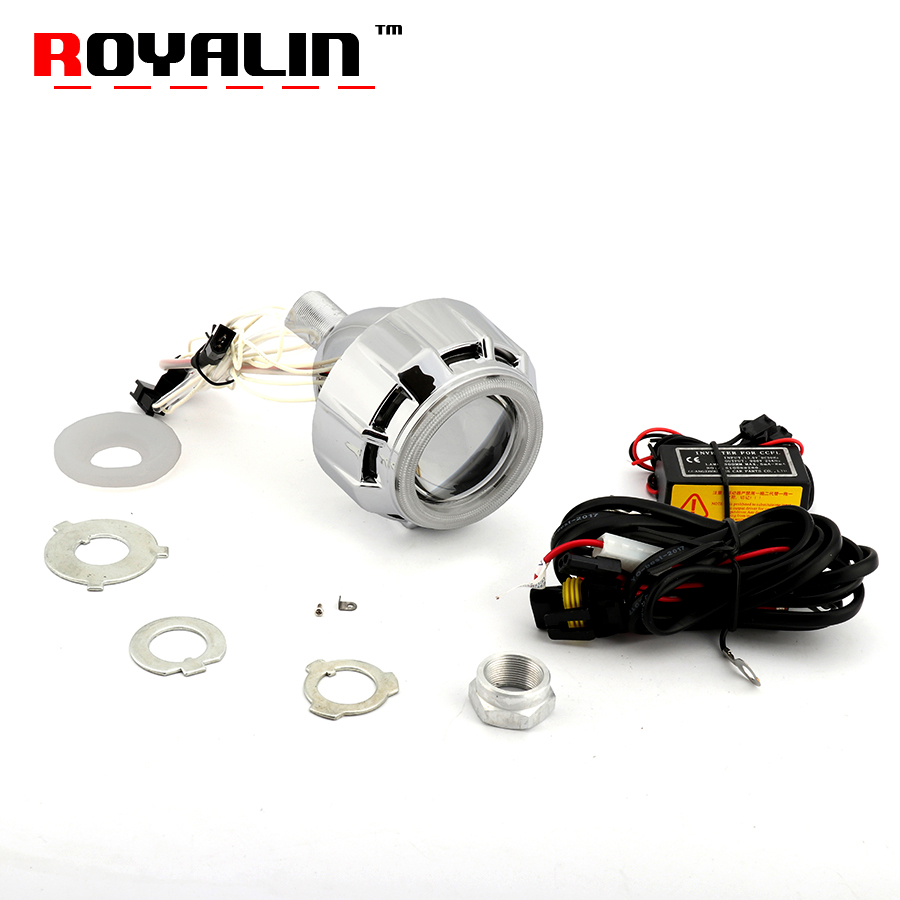 ROYALIN Motorcycle Bi Xenon Projector Lens 2.5 Headlight W/ Double CCFL Angel Eyes White Red Blue Yellow For H1 H4 H7 9005/9006 2 5 inch double led halo angel eyes bi xenon projector headlights lens full metal transformer hid bi xenon projector headlight