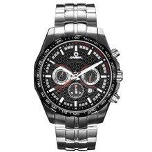 Moda esporte cronómetro relógios dos homens relógio de pulso de safira de aço inoxidável relógio à prova d' água 100 m casima energia solar #9906