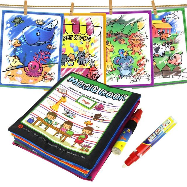 4 Types Magic Water Drawing Books Coloring Book in Drawing Toys Reusable Books Early Learning Toys Educational Toys for Kids