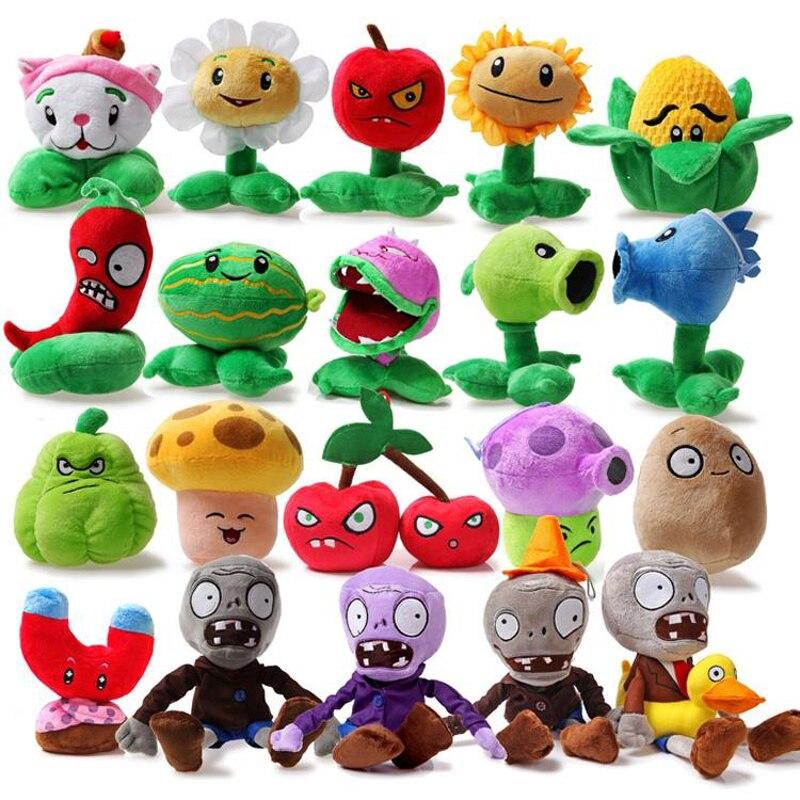 Oyuncaklar ve Hobi Ürünleri'ten Doldurulmuş ve Peluş Bitkiler'de 20 adet/grup Bitkiler vs Zombies peluş oyuncak PVZ Bitkiler ve Zombiler Peashooter Ayçiçeği Chomper Peluş Doldurulmuş Oyuncaklar Bebek Çocuklar için Hediyeler'da  Grup 1