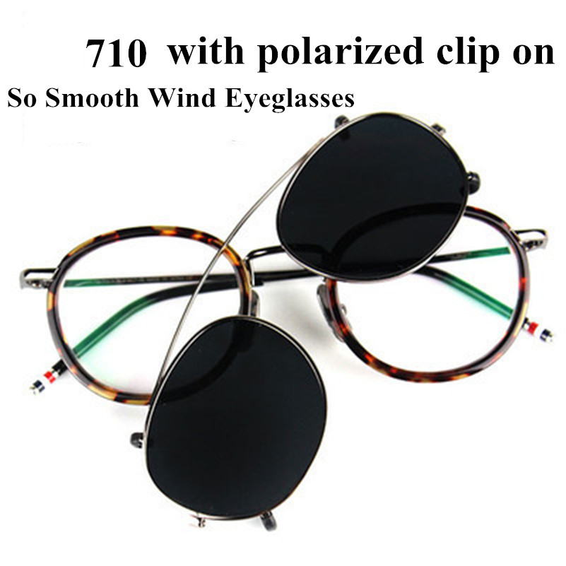Thom fashional vintage glasses frame for men and women TB710 myopia Spectacle eyeglasses with polarized clip