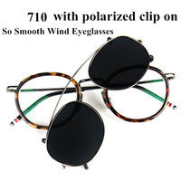 Thom fashional vintage glasses frame for men and women TB710 myopia Spectacle eyeglasses with polarized clip eyewear with box