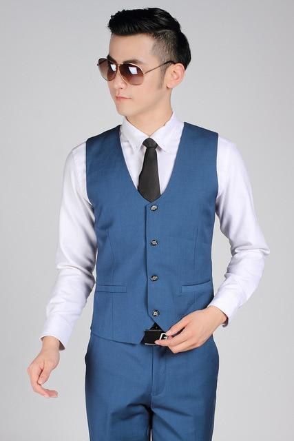British Style Royal Blue Gentleman Vest Men Office Formal Business Suit Vests Best Man Groom Wedding Vest Terno Colete Masculino