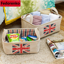United Kingdom Flag Sundries storage box kids room Neatening Storage basket cotton linen cesto de roupa suja small middle large