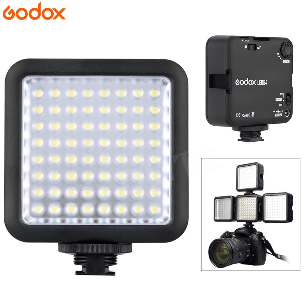 Godox 64 LED Video Camera On-camera Light for DSLR Camera Camcorder mini DVR for Selfie News Interview Macrophotography