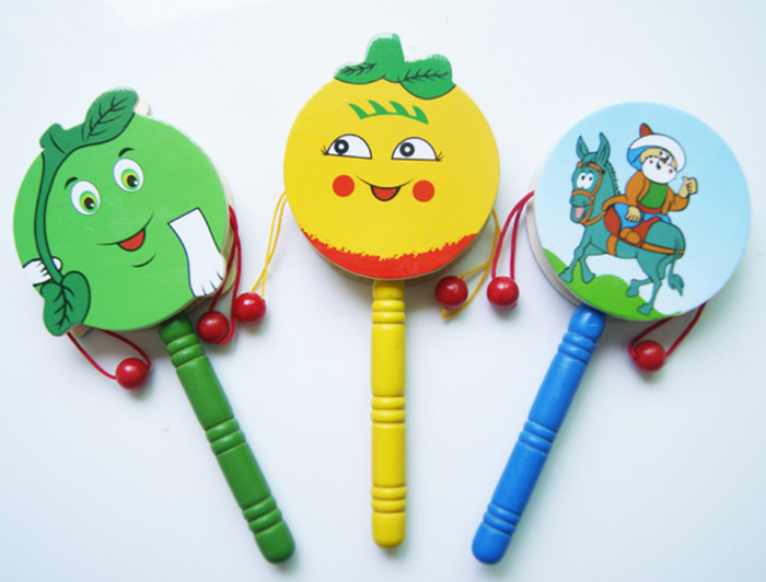 Baby Kids Children Shaking Wooden Rattle Drum Musical Hand Bell Drum Toy Early Childhood Educational Learning Rattles Toy