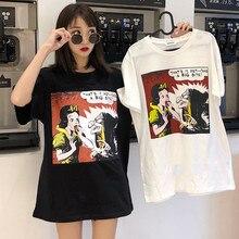 Harajuku Ulzzang Oversize tshirt cartoon Print Short Sleeve T-Shirts Korean Style Women Loose Summer T shirt Female Casual tops