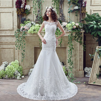 Robe De Mariage 2017 Mermaid Wedding Dresses Lace Coverd Bridal Gowns Pearls Beads Wedding Dress With Cape