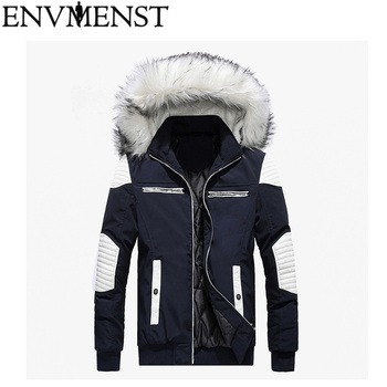 2018 New Winter Men's Parkas Hooded Thick Patchwork Windbreaker Brand Clothing Man's Slim Fit Warm Jacket Male Wear Coats